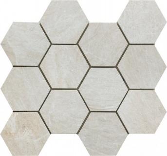 Mozaic Ceramic Hexagonal Sintesi, Mystone White 34x30 cm