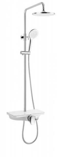 Sistem dus Sanotechnik 86-121x28x55cm crom-alb