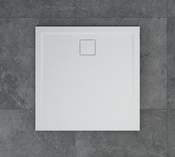 Cadita de dus SanSwiss Livada W20Q 100x100xH3,7 cm marmura sintetica alba imagine