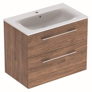 Set PROMO mobilier baza si lavoar Geberit Selnova Square 78,8x48xH63,5 cm maro imagine