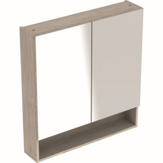 Dulap cu oglinda Geberit Selnova Square cu doua usi 58,8x17,5xH85 cm maro deschis