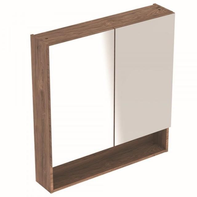 Dulap cu oglinda Geberit Selnova Square cu doua usi 78,8x17,5xH85 cm maro