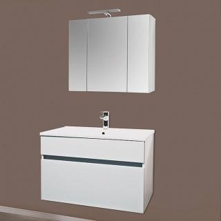 Set PROMO baza lavoar, lavoar si dulap oglinda Sanotechnik Stella 80 alb imagine