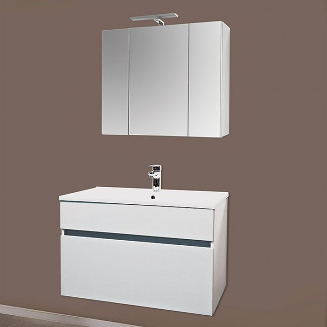 Set PROMO baza lavoar, lavoar si dulap oglinda Sanotechnik Stella 75 alb