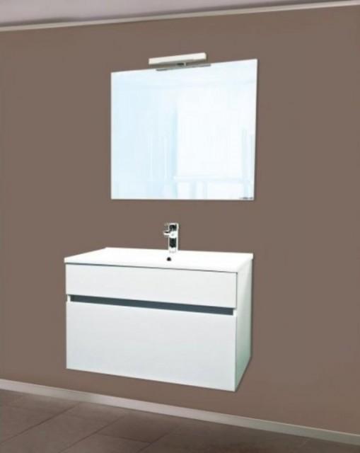 Set PROMO baza lavoar, lavoar si dulap oglinda iluminata Sanotechnik Stella 75 alb