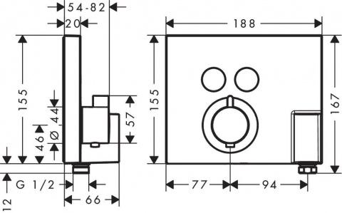 Baterie dus Hansgrohe ShowerSelect FixFit Porter cu suport dus