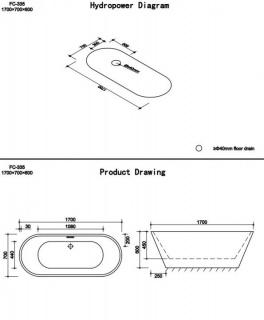 Cada freestanding Dalet Rondo B 170x70xH60 cm