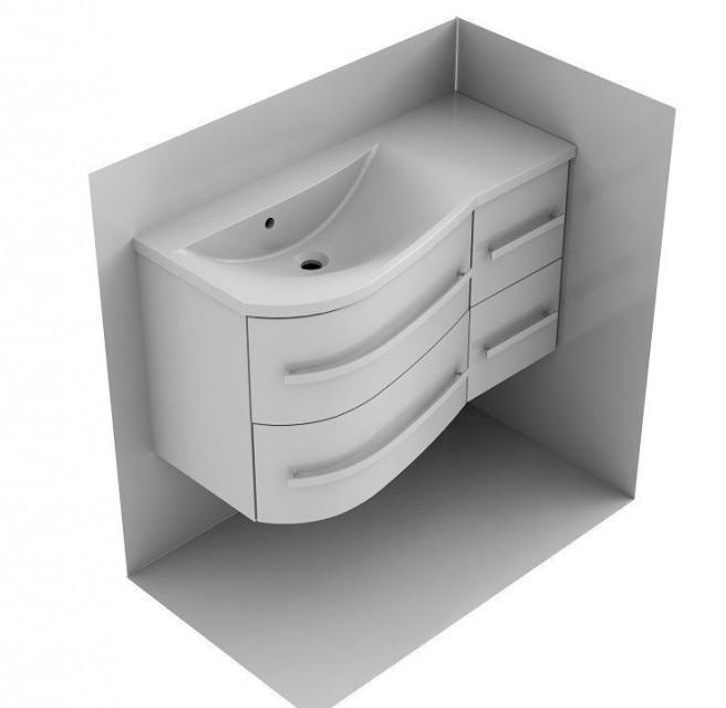Dulap baza Oristo Opal suspendat stanga alb lucios 90x45xH50 cm