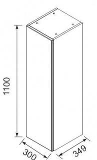 Dulap inalt suspendat Oristo Opal alb lucios 35x30xH110 cm