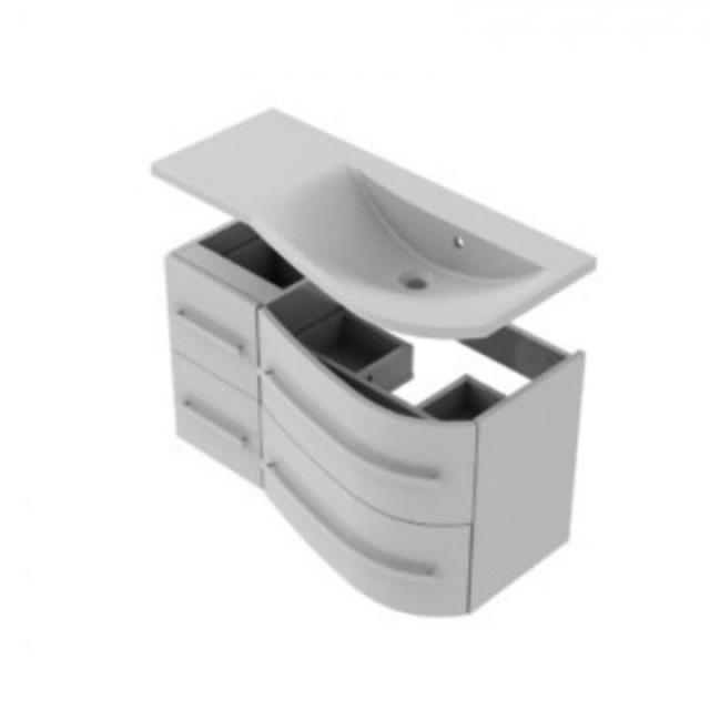 Dulap baza Oristo Opal suspendat dreapta alb lucios 90x45xH50 cm