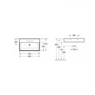 Lavoar Villeroy&Boch Memento 2.0 alb 80X47 cm fara preaplin