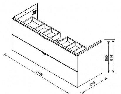 Baza de lavoar Oristo Siena suspendat 120x45xH55 cm alb
