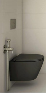 Set vas wc Rak Ceramics Feeling Rimless negru mat 52x36XH32 cm si capac