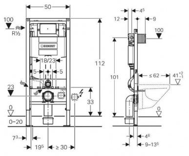 Rezervor cu cadru Geberit Duofix Omega 50x12xH112 cm