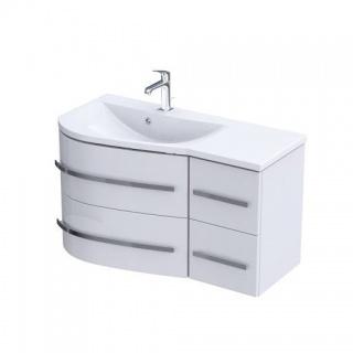 Set PROMO baza lavoar Oristo Opal si lavoar Opal stanga alb lucios 90x45H50 cm