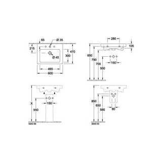 Lavoar suspendat Villeroy&Boch Subway 2.0, 60x47 cm fara preaplin