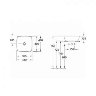 Lavoar pe blat Villeroy&Boch Artis 41x41xH13,5 cm Titanceram