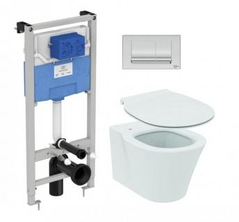 Set PROMO Vas WC suspendat Ideal Standard Connect Air Aquablade, capac, rezervor si clapeta crom