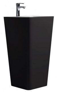 Lavoar monobloc cu picior asimetric Sanotechnik negru-mat 45x45xH81,5 marmura artificiala