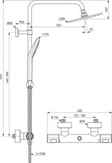 Coloana dus Ideal Standard IdealRain cu baterie termostatata Ceratherm T100