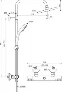 Coloana de dus Ideal Standard IdealRain cu baterie termostatata Ceratherm T25