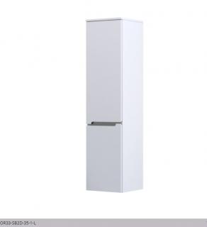 Dulap suspendat Oristo Silver 35x35xH144 cm, alb lucios, deschidere stanga